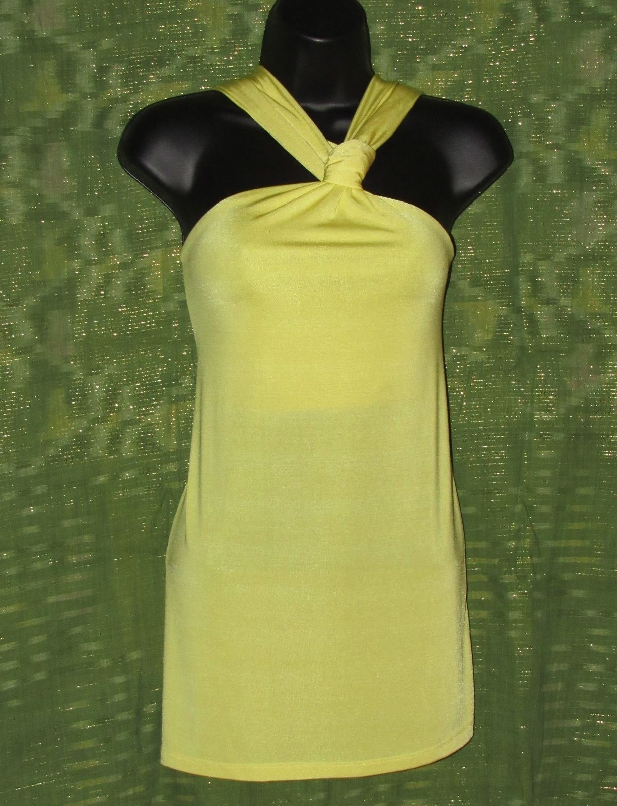 The Limited Knot-Front Criss-Cross Strap Yellow Knit Top Polyester/Spandex S: XL