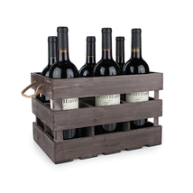 Rustic Farmhouse: Wooden 6-Bottle Crate - $29.99