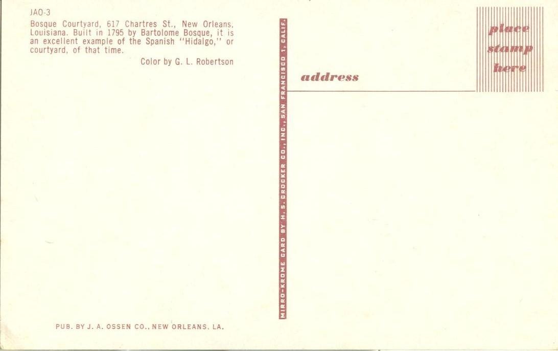 Bosque Courtyard, New-Orleans, Louisiana, unused Postcard