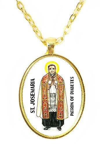 St Josemaria Patron Saint of Diabetes Huge 30x40mm Bright Gold Pendant with C...