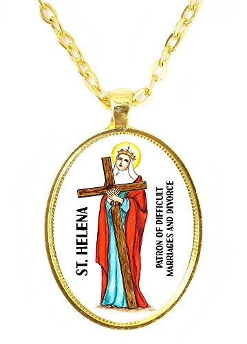 St Helena For Difficult Marriages & Divorce Huge 30x40mm Bright Gold Pendant ...