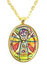 Chakra Meditation Explorer Huge 30x40mm Amulet Talisman Bright Gold Pend... - $14.95