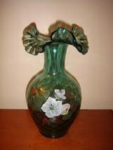 """Fenton Spruce Green Magnolia & Berry 10"""" Vase Tom Fenton Signature - $69.99"""