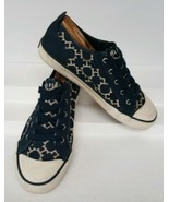 Tommy Hilfiger Blue & White Faux Leather Textile Women's Sneaker sz 6.5 ... - $44.55
