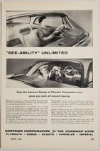 1958 Print Ad Chrysler Corporation Cars with All Around Viewing - $14.83