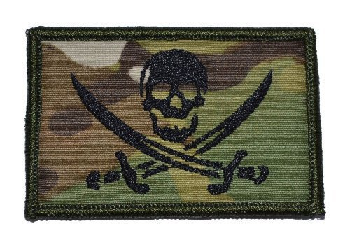 Pirate Jolly Roger 2x3 Military Patch / Morale Velcro Patch - Olive Drab