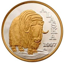 Alaska Mint Official 1997 State Medallion Gold & Silver Medallion Proof ... - $232.64