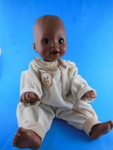 "2001 Mattel Brown Vinyl Baby Doll 14"" Brown Eyes Rare Afro American Hard... - $19.78"