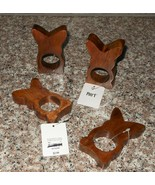 Set of 4 Pier 1 Easter Bunny Rabbit Wood Napkin Rings Holders NWT FREE S... - $23.75