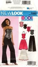 Simplicity 6480 New Look Juniors' Bustier Corset Skirt Pants 3/4-15/16 UNCUT FF - $12.47