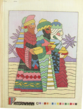Vintage 1970's Paternayan Hand Painted Needlepoint The Three Wise Men In... - $32.31