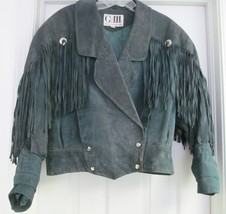 G-III Jacket Coat Suede Leather Western Fringe Concho Biker Distress Blu... - $59.95