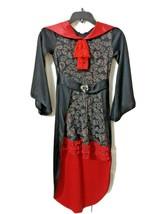 Spirit Halloween Girls Sz M 8-10 Black Red Collar Skull Sorceress Dress Costume - $18.88