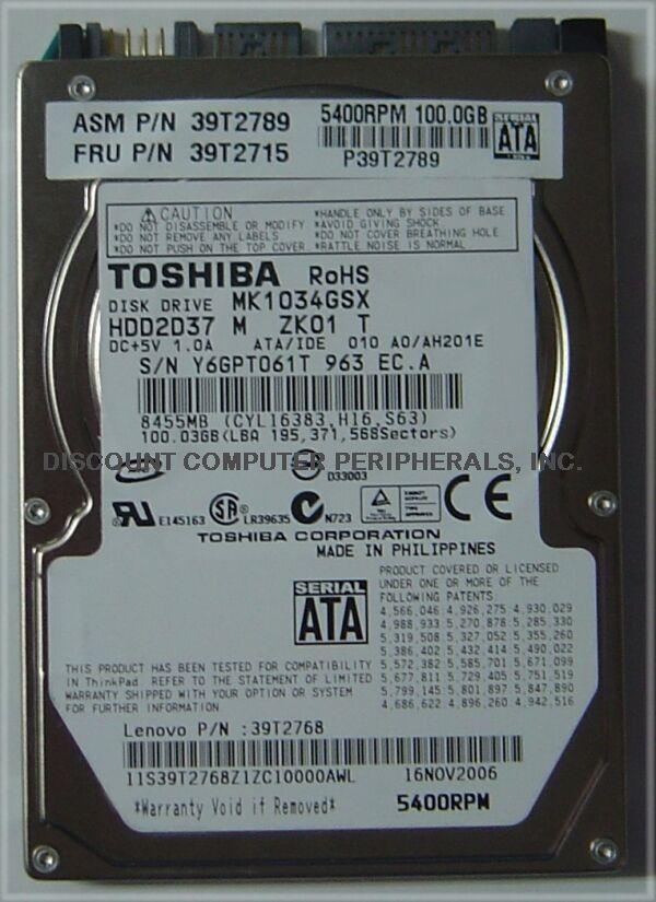 100GB 2.5in SATA Drive Toshiba MK1034GSX HDD2D37 Free USA Ship Our Drives Work