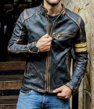 Men's Black Biker Vintage Motorcycle Distressed Cafe Racer Leather Jacket - $89.99