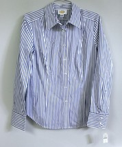 Talbots Womens 8 Blue White  Striped Long Sleeve Tailored Blouse NWT $79... - $20.30