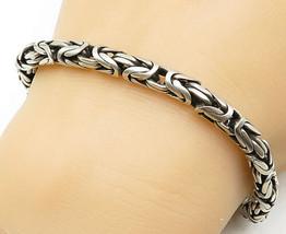 925 Sterling Silver - Vintage Byzantine Link Swirl Detail Chain Bracelet... - $102.94