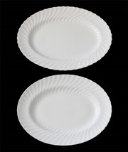 "2 Wedgwood CANDLELIGHT 14"" / 15.5"" Bone White Scalloped Swirl Oval Platt... - $149.99"