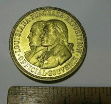 1904 St Louis Worlds Fair  Dollar Medal Token Louisiana Purch Yellow Bro... - $224.01