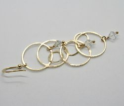 EARRINGS HANGING 925 SILVER LAMINA GOLD CIRCLES BY MARY JANE IELPO MADE IN ITALY image 7