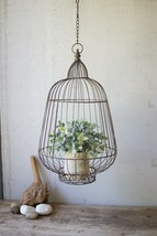 Rustic Hanging Basket Wire Bird Cage Plant Holder Decor,23''H - $89.10