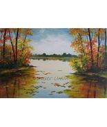 Autumn Landscape Original Oil Painting Contemporary Art Palette Knife Im... - $220.00