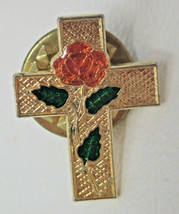 Vintage Gold Colored Red Rose Cross Lapel Pin - $9.45