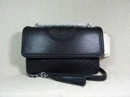 NWT Tory Burch Black Distressed Leather Fleming Convertible Shoulder Bag... - $423.72