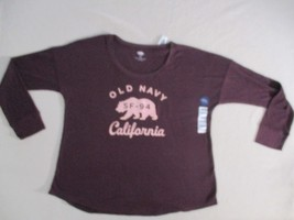 Old Navy Women Top L Burgundy Graphic Crew Relaxed Cotton Polyester Span... - $9.36