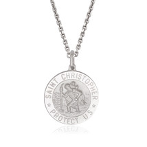 Unique 925 Italian Sterling Silver St. Christopher Pendant Medal 24MM w/... - $48.11