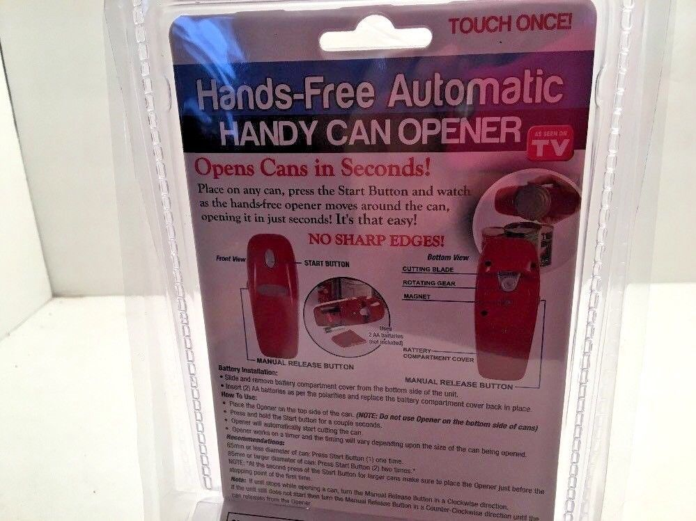 Can Opener Automatic Handy Battery Operated Red Kitchen Food Prep