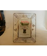 Silver Metal Tabletop Picture Frame Open Wire Design With Flowers & Butt... - $22.28