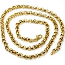 18K YELLOW GOLD CHAIN 17.70 IN, BIG ROUND CIRCLE ROLO LINK, 5 MM MADE IN ITALY image 3