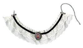 Chakra Hamsa Black & White Lace Choker with Handmade Silver Art Brooch P... - $19.95