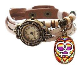 """Lesbian White Boho Leather Charm Bracelet Watch 7"""" to 8 1/4"""" [Watch] - $14.95"""