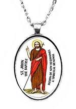 Saint John the Baptist of New Beginnings Huge 30x40mm Handmade Silver Pe... - $14.95