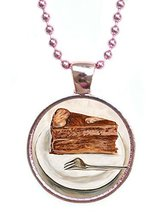 Chocolate Cake Metallic Pink Pendant with Chain Necklace [Jewelry] - $14.95