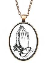 Praying Hands Huge 30x40mm Handmade Antique Copper Pendant [Jewelry] - $14.95
