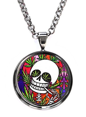 Marijuana Skull Gunmetal Pendant with Chain Necklace [Jewelry]