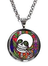 Marijuana Skull Gunmetal Pendant with Chain Necklace [Jewelry] - $14.95