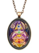 Third Chakra Intention Manifestation Huge 30x40mm Antique Copper Pendant with... - $14.95