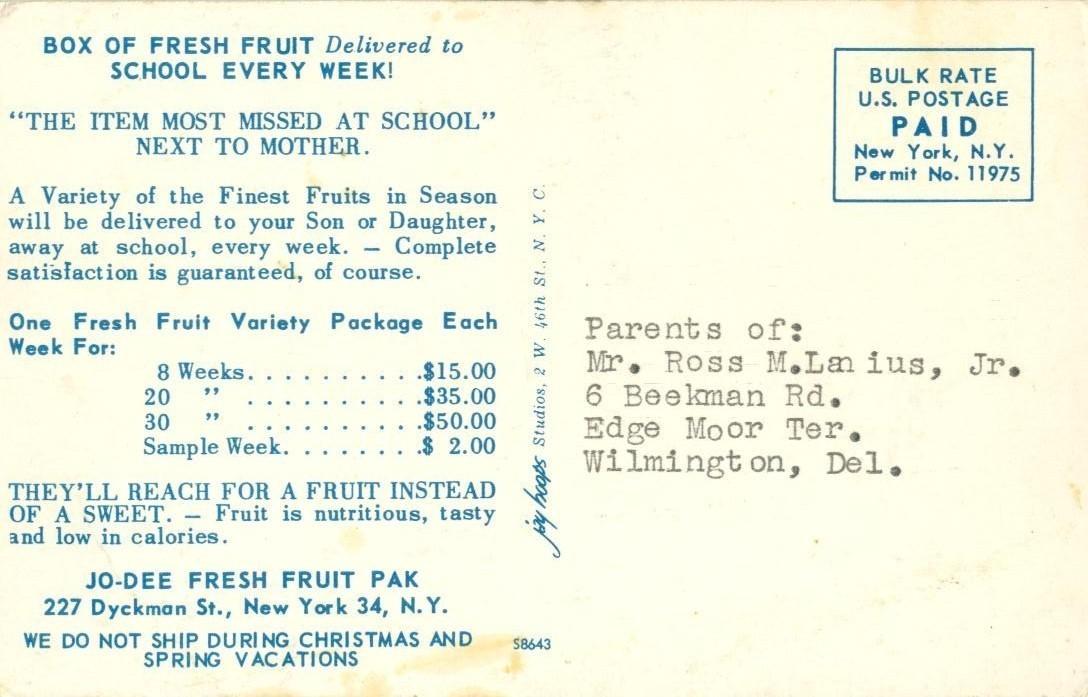 Box of Fresh Fruit Delivered to School every week, Jo-Dee Fresh Fruit Pak