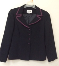 Long Sleeve Blazer Kasper 8 Petite, Lined, with coordinating bias with b... - $10.00