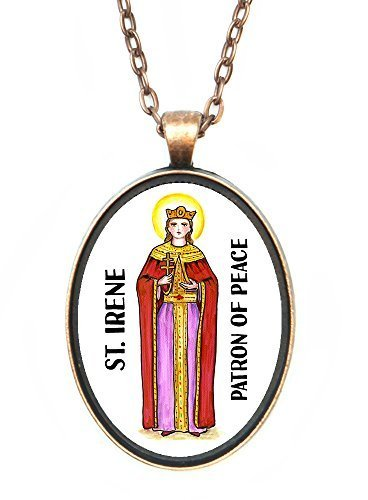 St Irene Patron of Peace Huge 30x40mm Antique Copper Pendant [Jewelry]