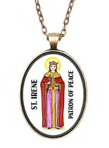 St Irene Patron of Peace Huge 30x40mm Antique Copper Pendant [Jewelry] - $14.95