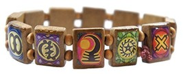 Ancient Adinkra Symbols Prayer Brown Wood Stretch Bracelet [Jewelry] - $14.95