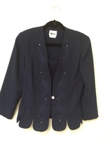 Long Sleeve Blazer Navy Blue, Leslie Fay, 10 R, with Crystals and Crysta... - $10.00