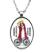 Madonna Del Ghisallo Patron of Cycling Huge 30x40mm Handmade Silver Plat... - $14.95