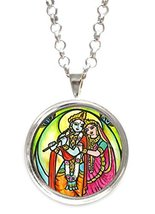 Radha Krishna for Soul Mate Connections Silver Pendant with Chain Necklace - $14.95