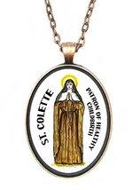 St Colette Patron of Healthy Childbirth Huge 30x40mm Antique Copper Pendant - $14.95